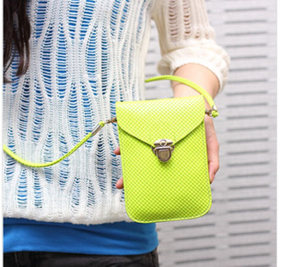 Women Mini Crossbody Bag Neon Yellow Orange Hot Pink Mobile Phone Shoulder Bag Handbag Card Pouch Lady Messenger Bags
