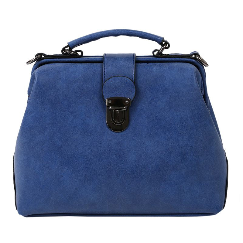 Women Handbags PU Leather Vintage Doctor Bags Crossbody Bags For Women Shoulder Bags (Blue Nubuck)