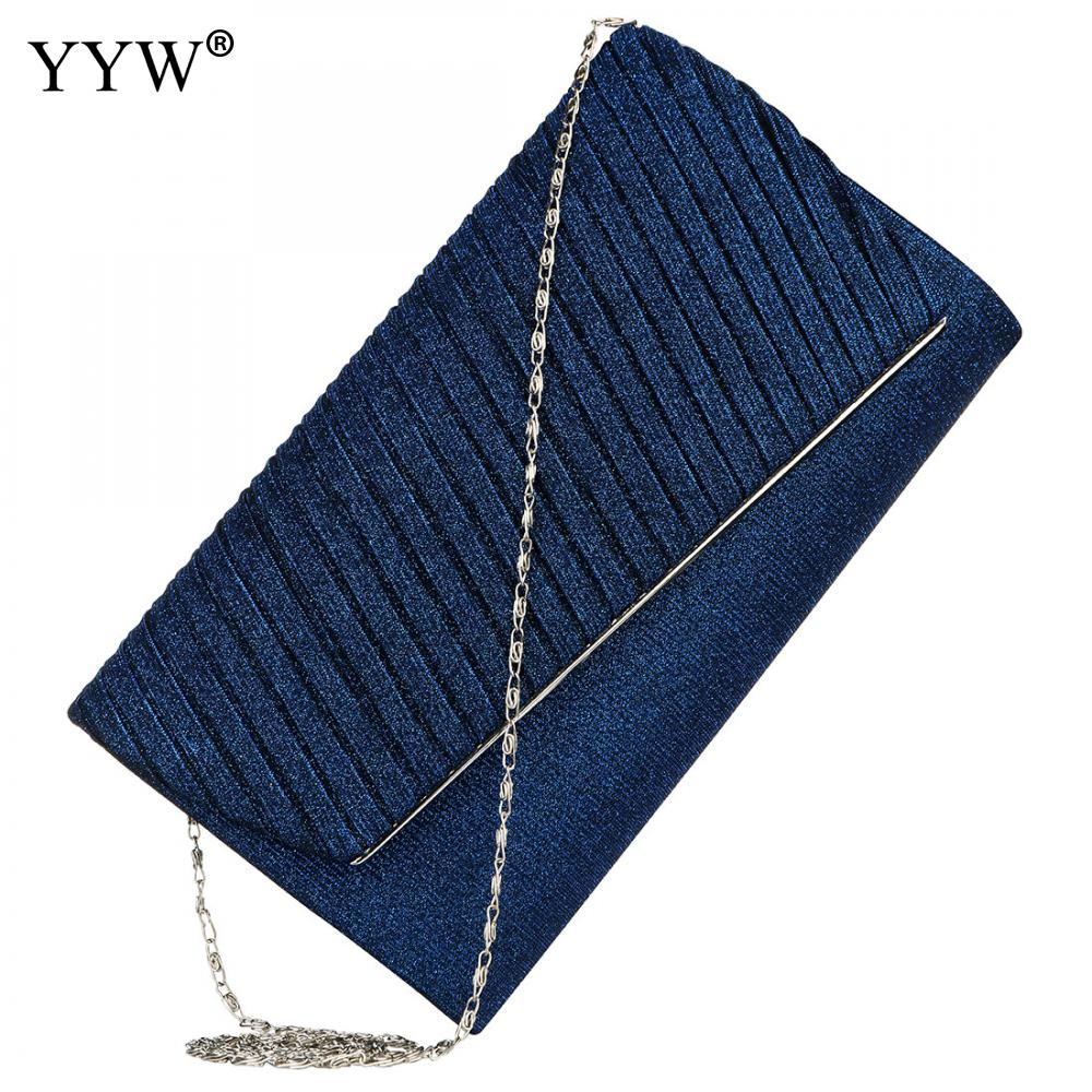 Blue Silk Striped Envelope Clutches Women'S Evening Bag Glitter Clutch Wedding Bridal Purse Sparkle Cocktail Party Prom Handbag