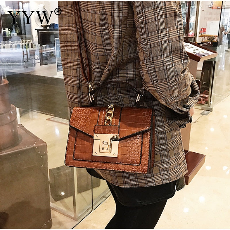 Classic PU Leather Box Bag Brown Women Crossbody Bags Female Tote Fashion Shoulder Crossbody Bags For Girl Work