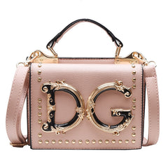 Luxury Fashion Rivet Handbag Women Metal Letter Shoulder Bag Famous Designer Ladies Crossbody Messenger Bag Female Bolsa