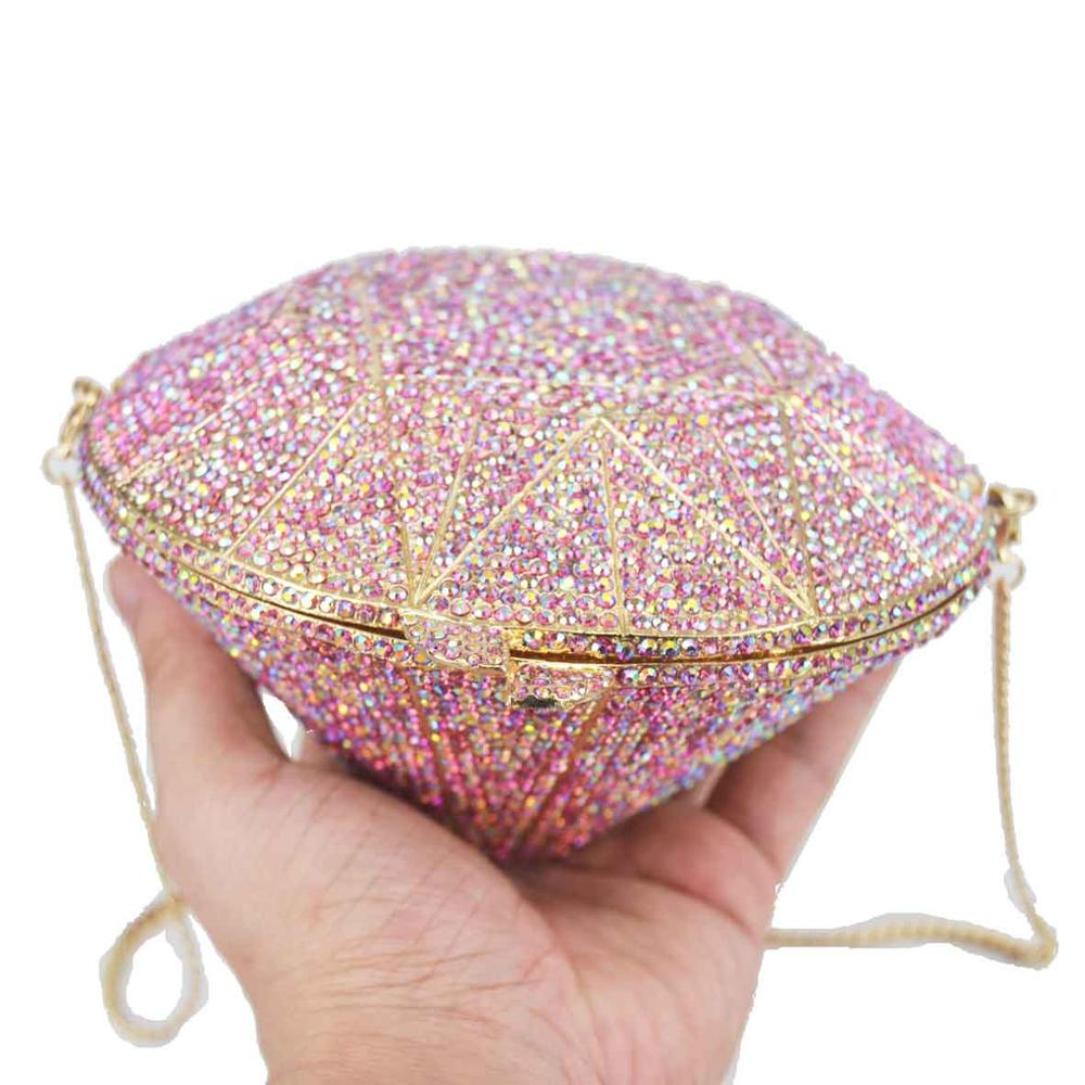 Colorfully New arrival  Women Diamond Shape Crystal Evening Handbags Glitter Designer Bags Famous Crossbody Bags Purse