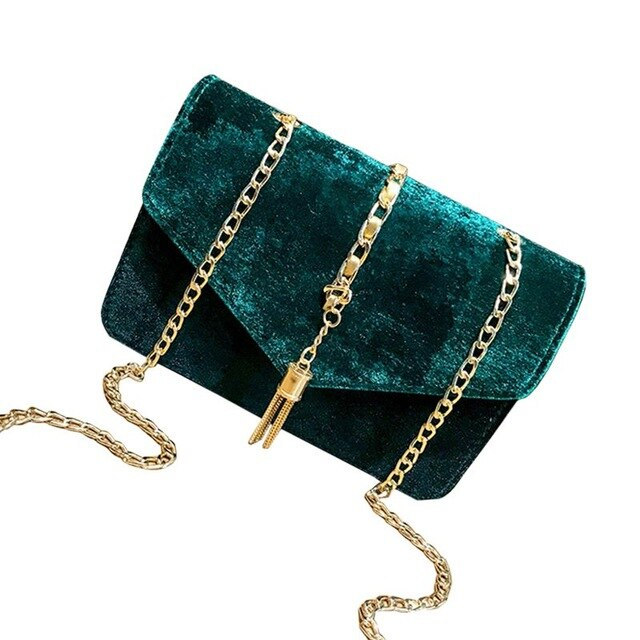 Women Flap Clutch Evening Handbag Purse Tassel Envelope Chains Ladies bags,Green