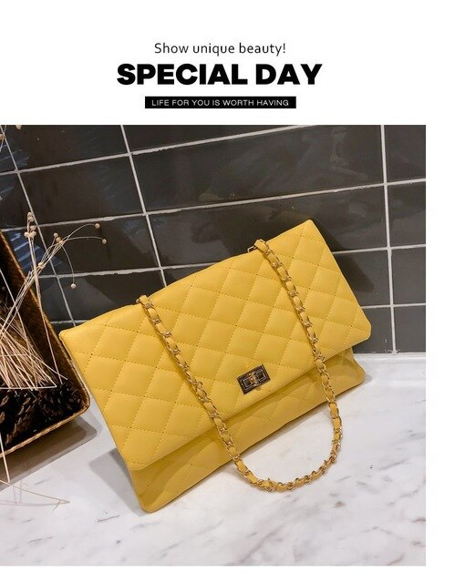 2019 Brand Designer Handbags Quilted Clutch Bags Ladies Yellow High Quality Leather Big Crossbody Bags Womens bolsa feminina sac