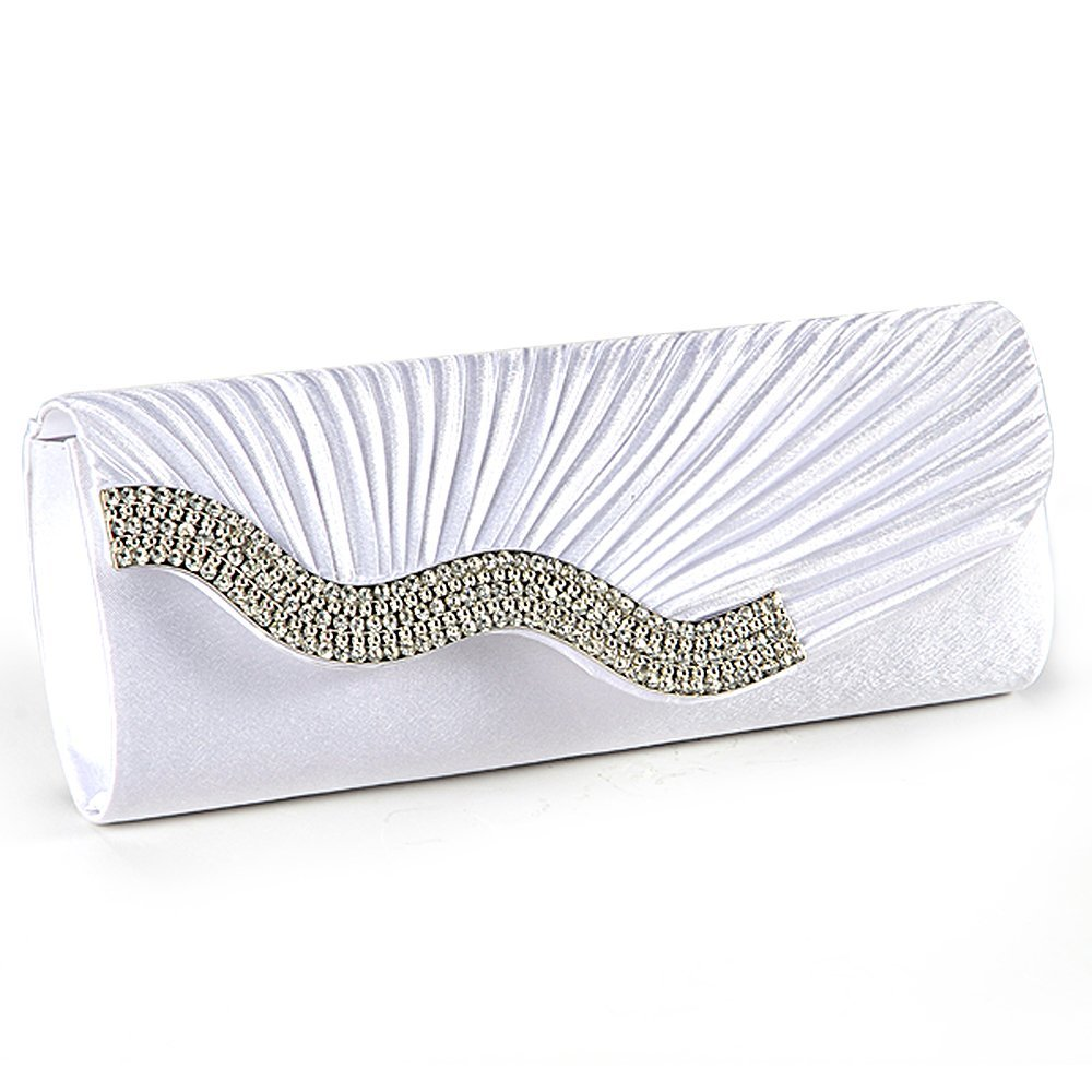 Handbag Evening Clutch Wallet Fabric Baguette Type Satin Pleated With Serti Waterfront Strass White