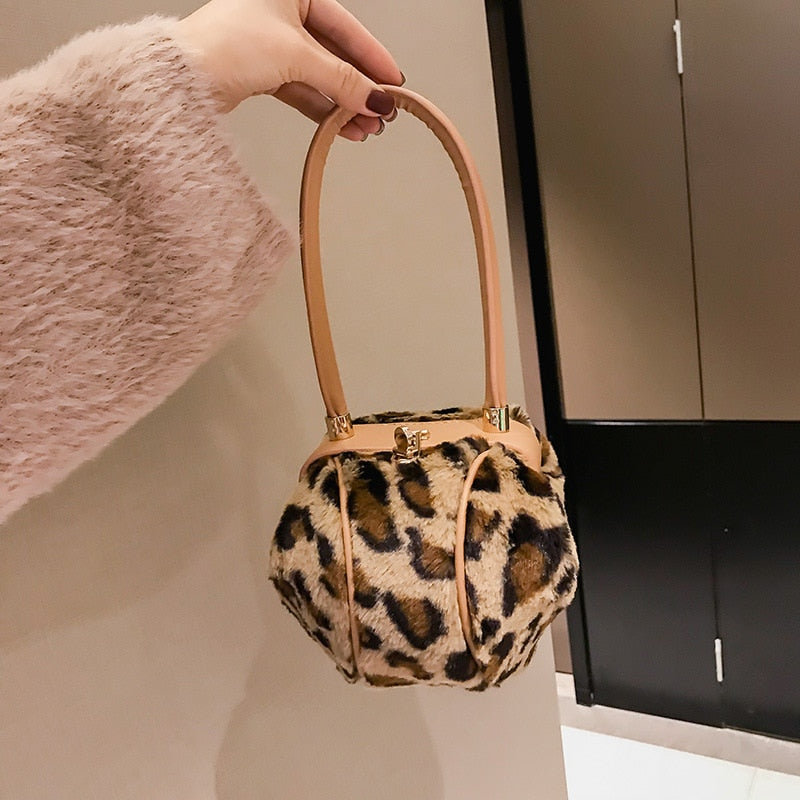 Fashion Leopard Small Round Women Handbags Brand Design Plush Ladies Tote Dinner Party Lock Hasp Bag Purse High Quality Clutch