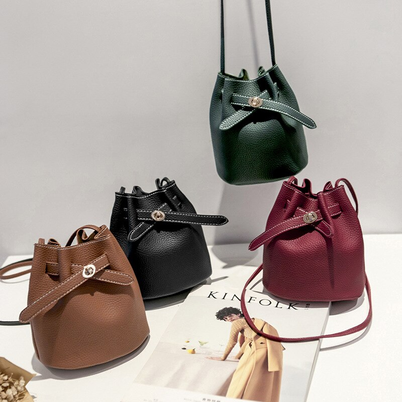 2019 Brown Leather Crossbody Bags for Women Fashion Bow Bucket Bag Female Bolsa Single Shoulder Bags Clutch Messenger Bag Strap
