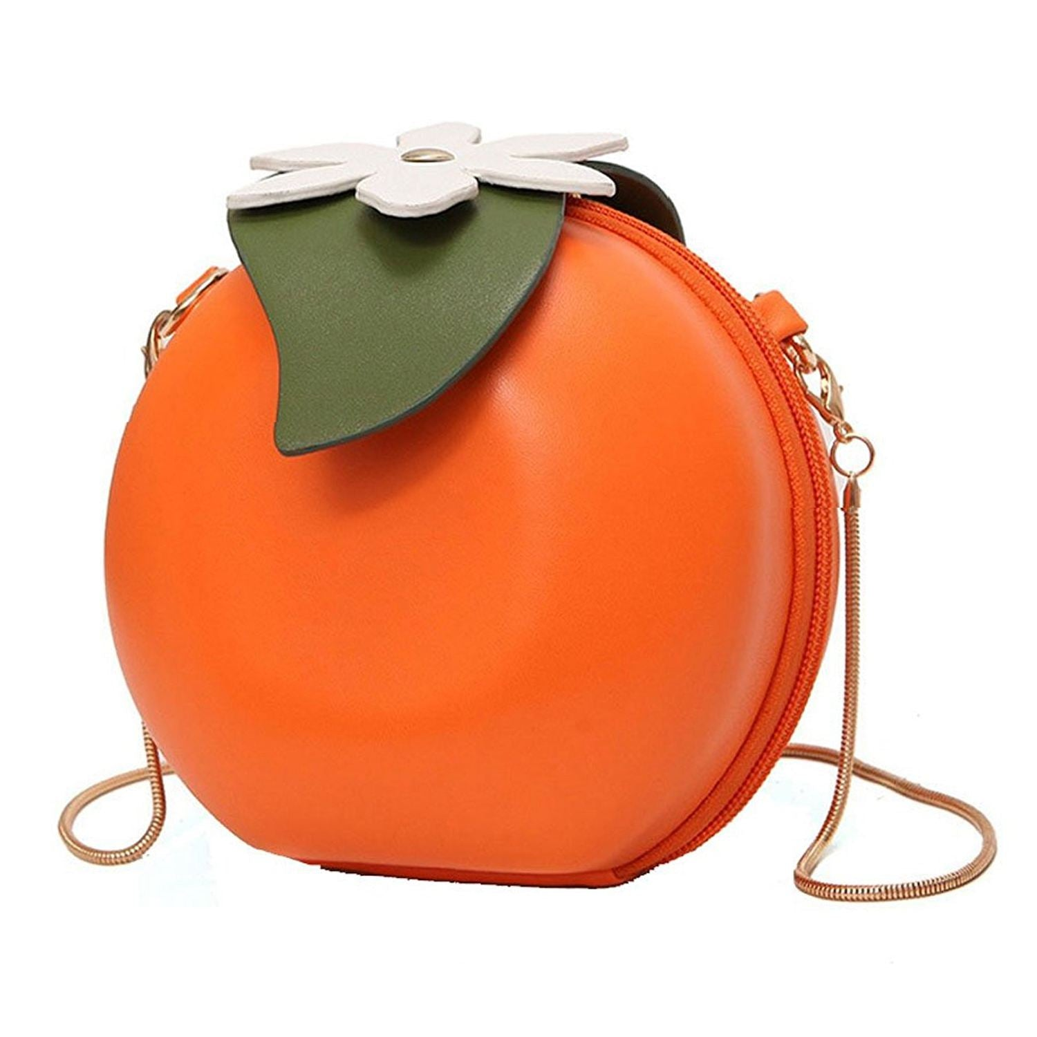 Fruit Orange Shaped Women Pu Leather Clutch Purse Cross Body Bag