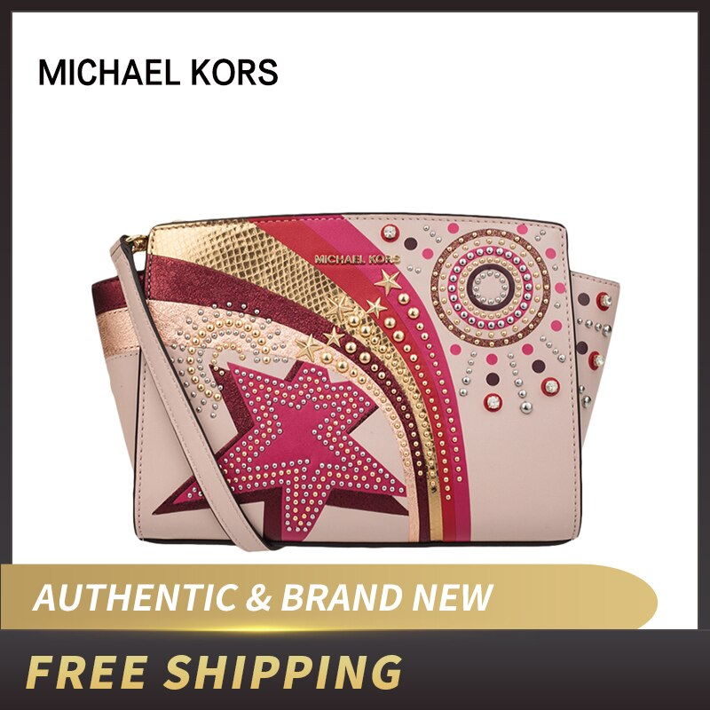 MICHAEL Michael Kors Selma Embellished Leather Messenger Bag 30H7GLMM8T