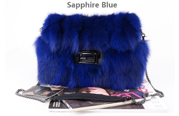 Real fox fur handbags bag Grey fur bag pathwork real fur handbag Blue Handbag Wine Fur Bag Fashion Handbag