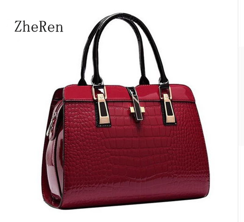 Charm in hands Elegant Alligator Patent Leather Women Handbag Big Women's Shoulder Bags Cross Lock Design Lady Tote Handbag