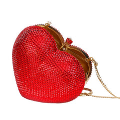 Red heart shape crystal clutch bag Rhinestone evening bag metal Ladies party purse Heart shaped diamond Ladies Wedding Bag 88167