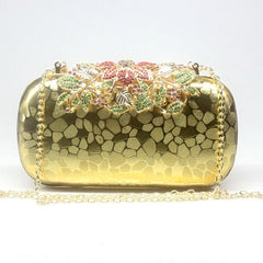 Flower Crystal Evening Bag Clutch Bags Rhinestones Wedding Handbags Clutches Lady Wedding Purse Silver/Gold/Red Evening Bag