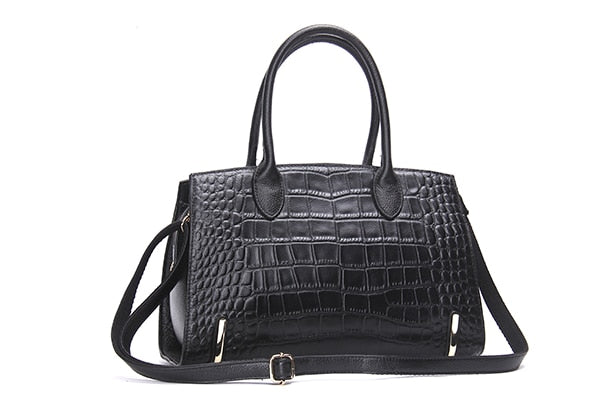 Fashion Women Bags Genuine Leather Handbags Alligator High Quality Zipper Design Black Red Lady Office Bags