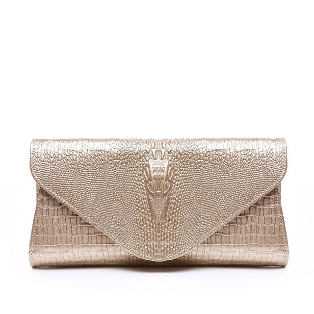 Luxury Women Evening Clutch Bags 2016 Gold Bag White For Wedding Genuine Leather Handbags Purse Ladies Envelope Clutch Crossbody