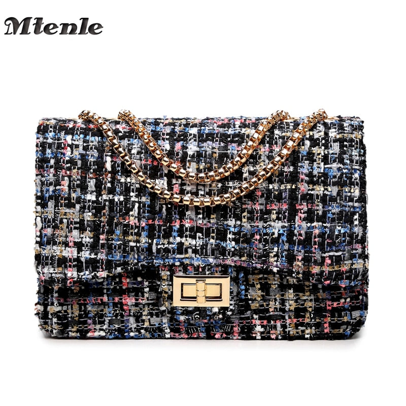 MTENLE Small Flap Shoulder Bags Women Messenger Gold Chain Cross Hand Bag Vintage Clutch Winter Satchel Woolen Crossbody  FI