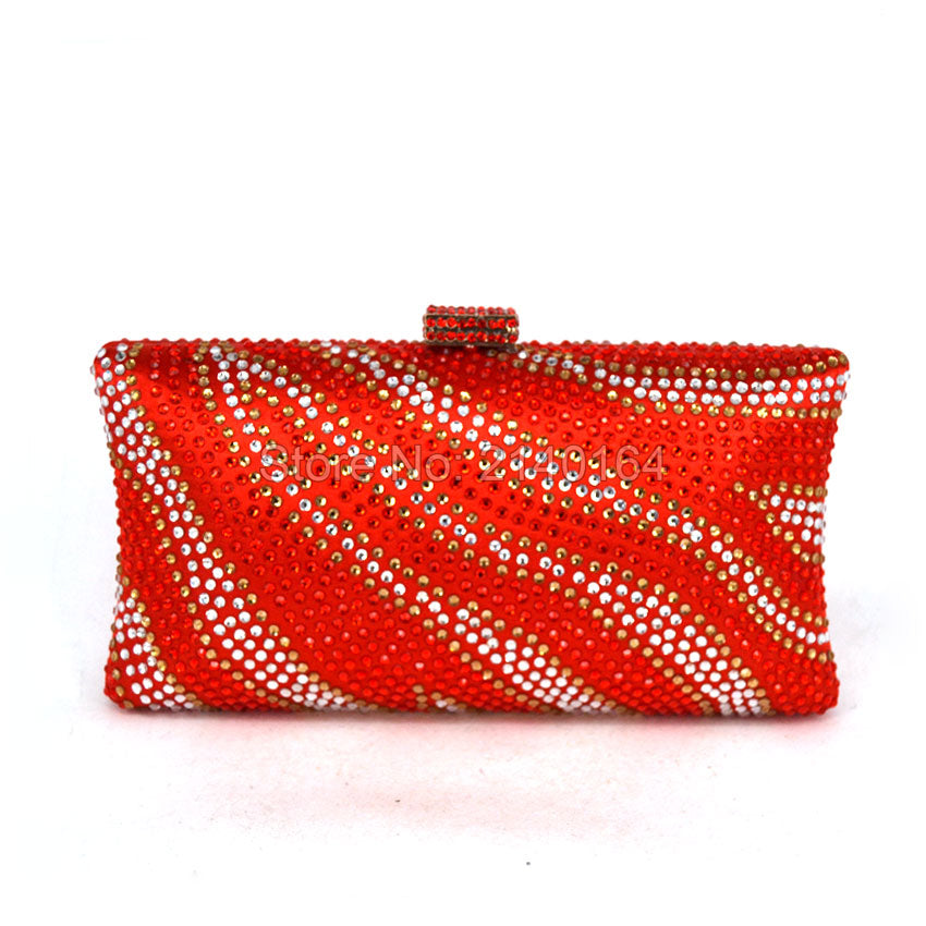 Red And White Box Clutch Women Party Purse Diamond Handbags female Evening Bags Gold Wedding Bag With Chain Silver Clutches T07