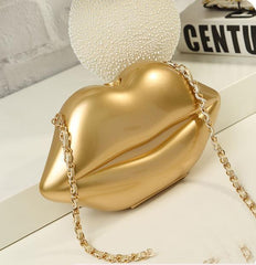2017 Women Red Lips Clutch Bag High Quality Ladies Acrylic Chain Shoulder Bag Bolsa Evening Bag Lips Shape Purse