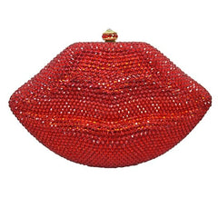 Stylish Diamond Evening Bag Sexy Red Lips Crystal Evening Bag Gold metal Party Purse Bride Wedding Handbag with Chain bag 88313