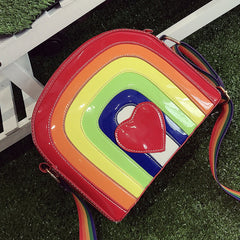 New fashion women rainbow crossbody bag women's colorful cute red heart handbag lolita messenger bags