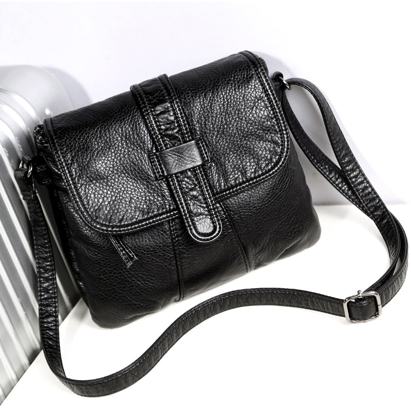 Soft leather Women Messenger bag casual women's shoulder Crossbody bag female handbag Black bolsa feminina girl bag