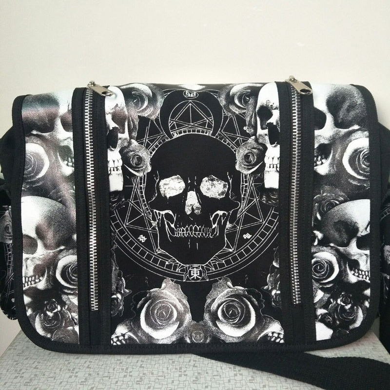 Men Women Unisex Mica Skulls Roses Black & White Illuminati Gothic Waterproof Shoulder Cross Messenger School Work Bag