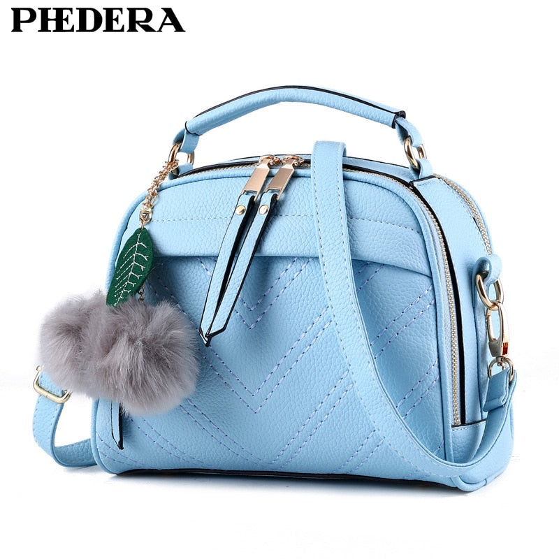 Phedera Brand Summer High Quality Women Leather Handbag Bag Fashion Women Messenger Bags Small Flap Girl Summer Tote Blue Purse