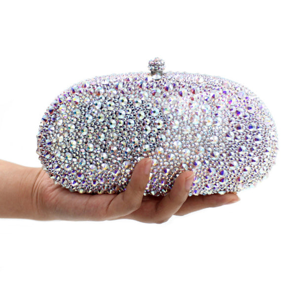 luxury silver full diamond clutch evening bags fashion women crystal prom clutch purse wallets wedding bridal sac pochette Purse