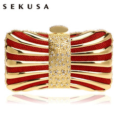 SEKUSA Chain Shoulder Clutches Evening Bags Diamonds Tin Mixed Color Black/Red/Silver/Blue/Gold Evening Bag For Wedding Handbags