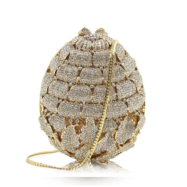 Women oval Leaves gold crystal Evening Clutch purse Ladies silver Evening Bags Female Party Wedding bridal Clutches Bag wallet
