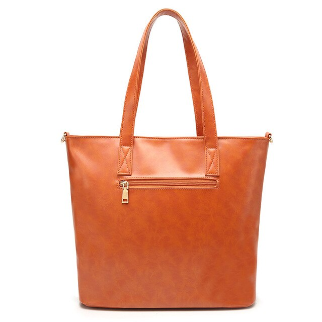 New Fashion Women Handbag PU Wax Leather Women Bag Large Orange Tote Bag Big Casual Ladies Shoulder Bags Brand Bolsas Feminina