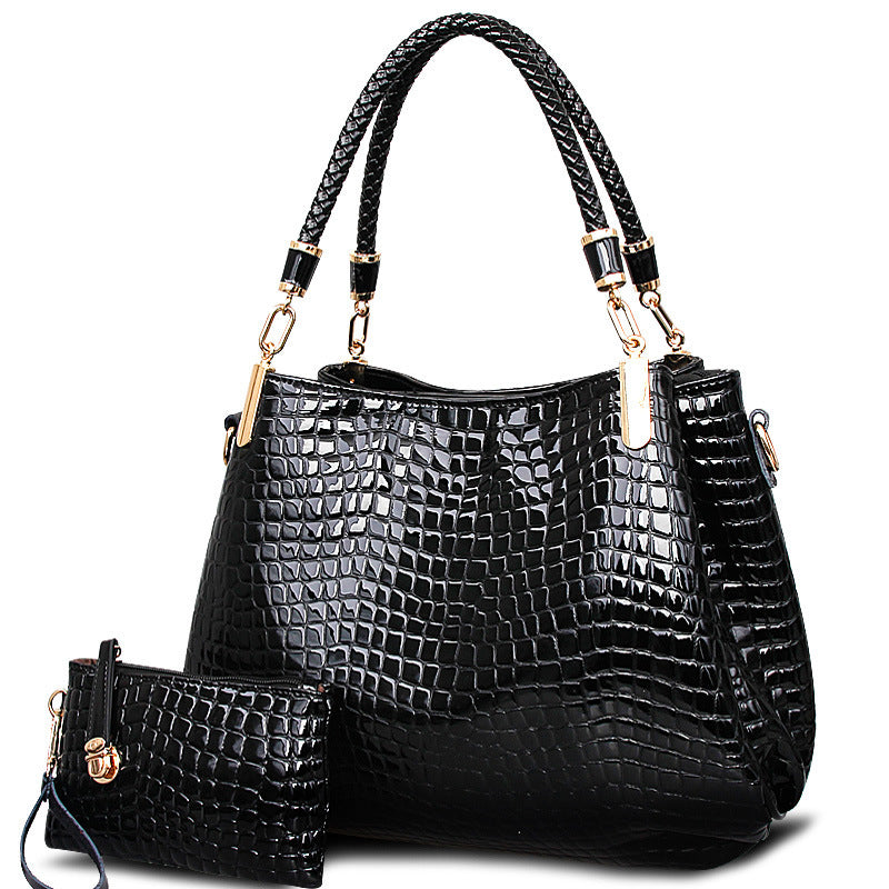2017 big capacity black white shoulder bags crocodile borse women totes lady handbag+purse/wallet carteras mujer  kit 2 bags/set
