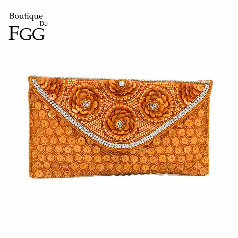 Boutique De FGG Vintage Hand Made Orange Beading Flower Crystal Evening Purse Women Wedding Party Beaded Envelope Clutch Handbag