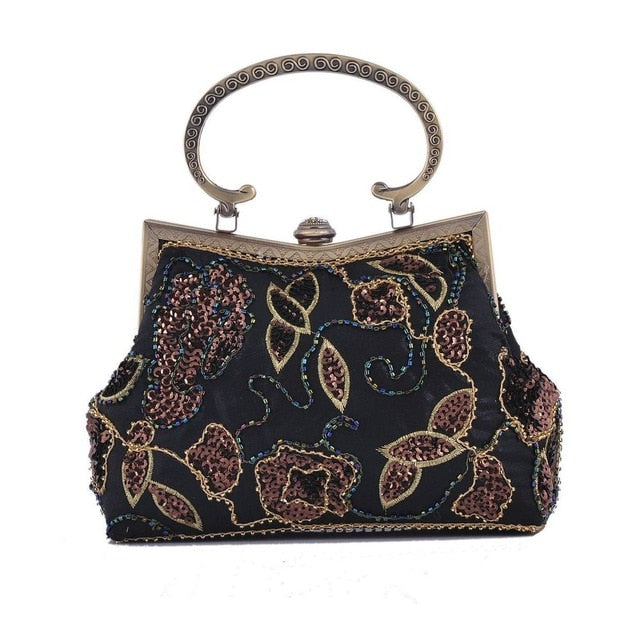 Chinese Old School Style Women Red Silk Floral Appliques Beading Sequins Embroidery Metal Frame Evening Clutches Purse Handbag