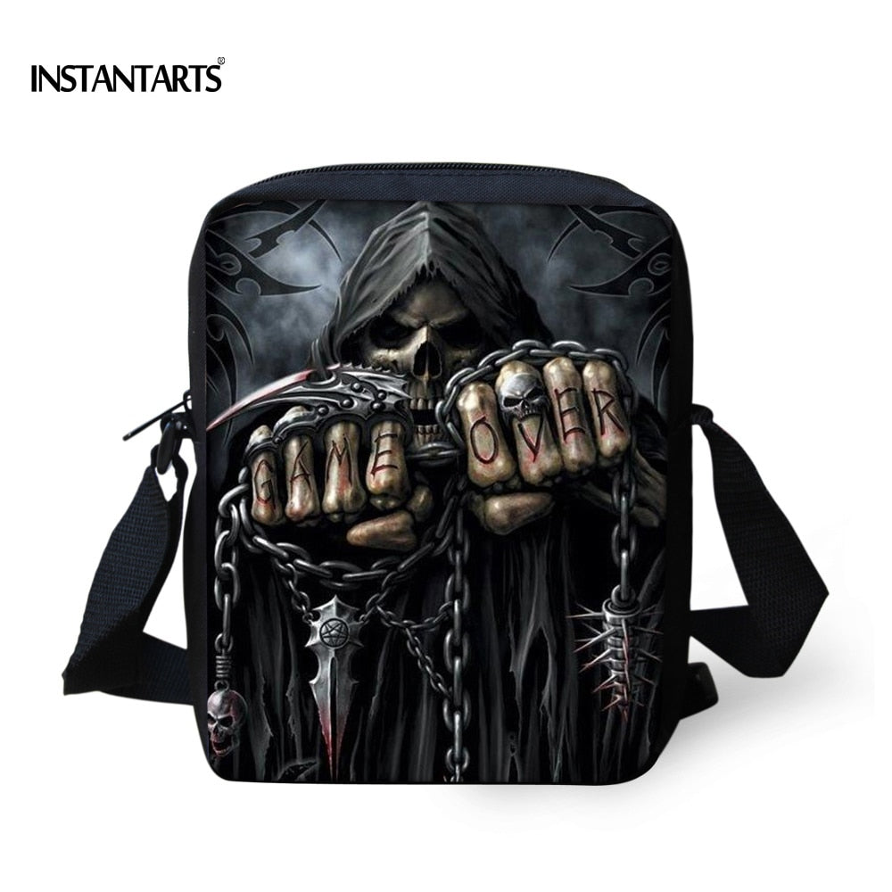 INSTANTARTS Vintage Anime Punk Skull Reaper Printing Men Small Messenger Bags Brand Designer Shoulder Bag Boys Crossbody Bags