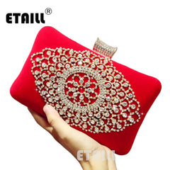 ETAILL Red Luxury Brand Women Diamond Evening Bag Velvet Rhinestones Day Clutch for Wedding Bridal Party Wallet with Chains