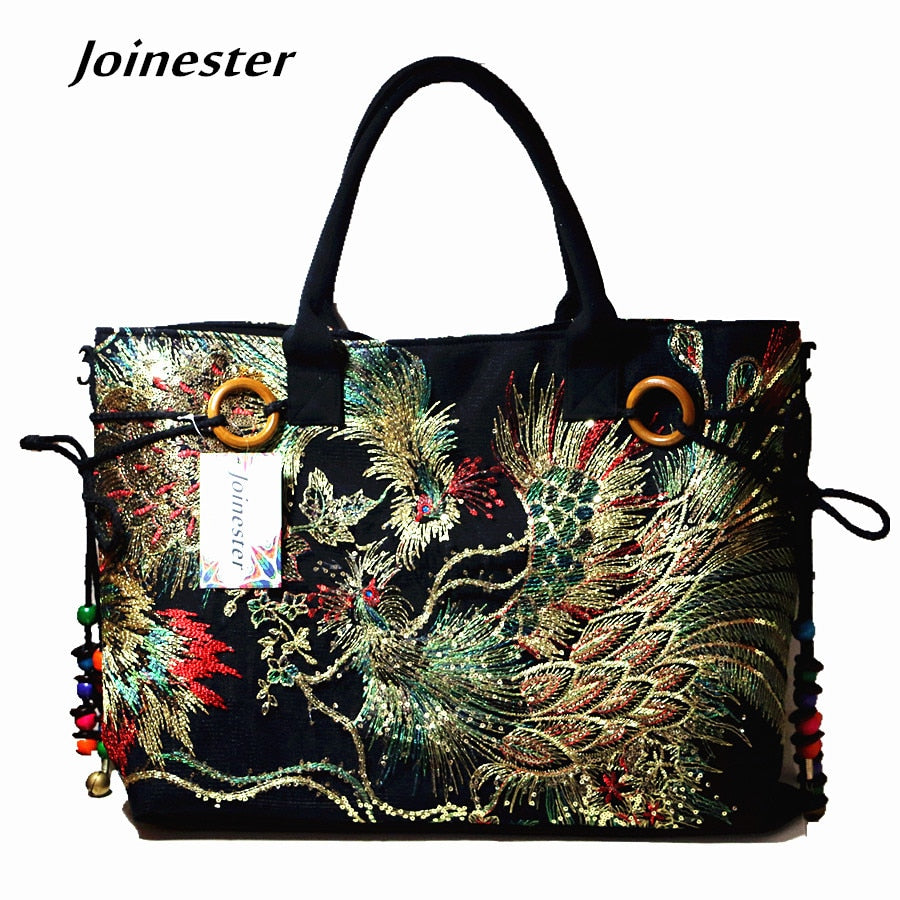 Traditional ethnic flower embroidered canvas tote ladies vintage sling cotton fabric shoulder bag corss body bag large size