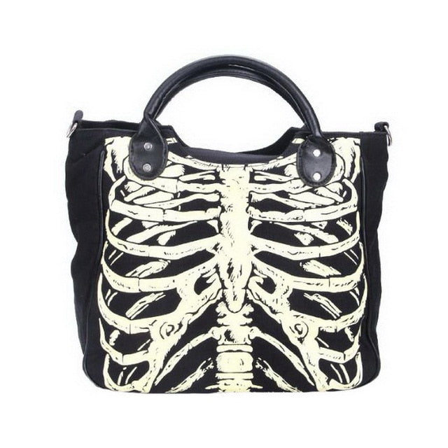 DIINOVIVO Luminous Gothic Skeleton Bones Skulls Bags Rock Designer Female Casual Totes Women Punk Bags Fashion Handbag WHDV0244