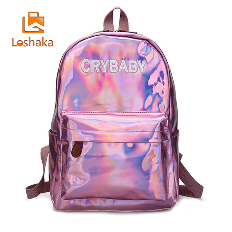 Loshaka Hip-hop Style Embroidery Letters Crybaby Hologram Laser Backpack Women Soft PU Leather Backpack School Bags For Girls