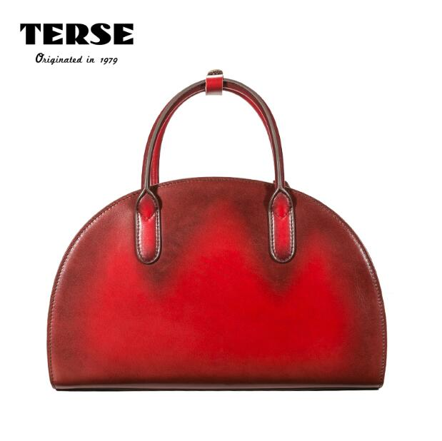 TERSE_2017 Ladies Handbags Handmade Genuine Leather Red/Green Color Women's Pouch Luxury Half Moon Tote Bag Customiz Service 473