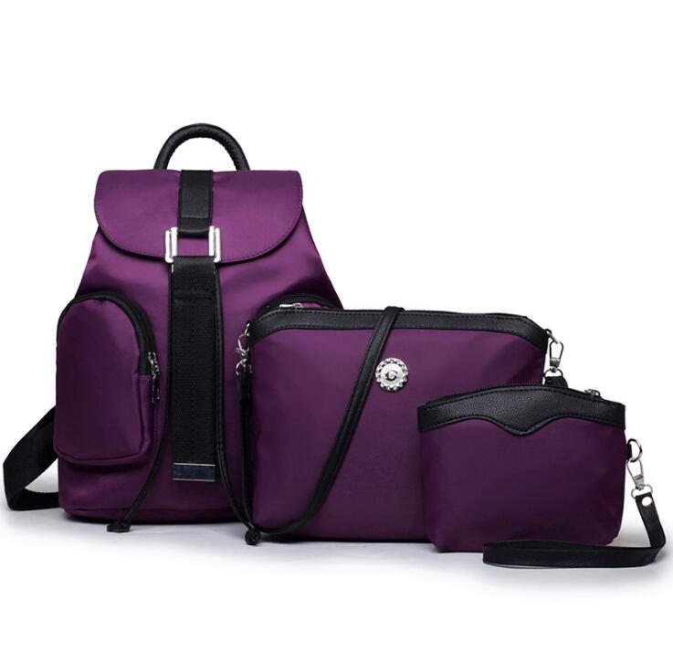 New Luxury Purple Nylon Handbags 3 Pcs Composite Bags Set Women Shoulder Crossbody Messenger Bag Lady Clutch Purse Wallet