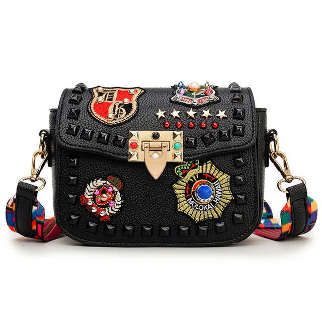 Fashion Color Rivet Design Women Pu Leather Bags Embroidery Metal Stars Shoulder Bags Ladies Color Shoulder Strap Crossbody Bags