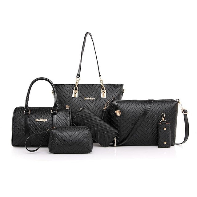NEW Brand Luxury Lady Handbag 6 Pcs/set Composite Bags Set Women Shoulder Crossbody Bag Female Purse Clutch Wallet
