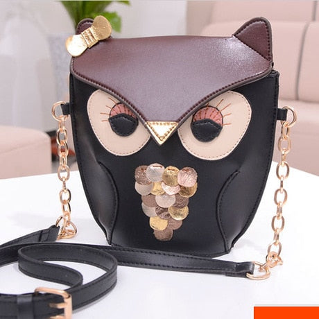 Cute Black Brown Owl Bag /Women PU Leather Satchel Shoulder Messenger Bag Bandolera Mujer Coin Purse Single Shoulder Crossbody