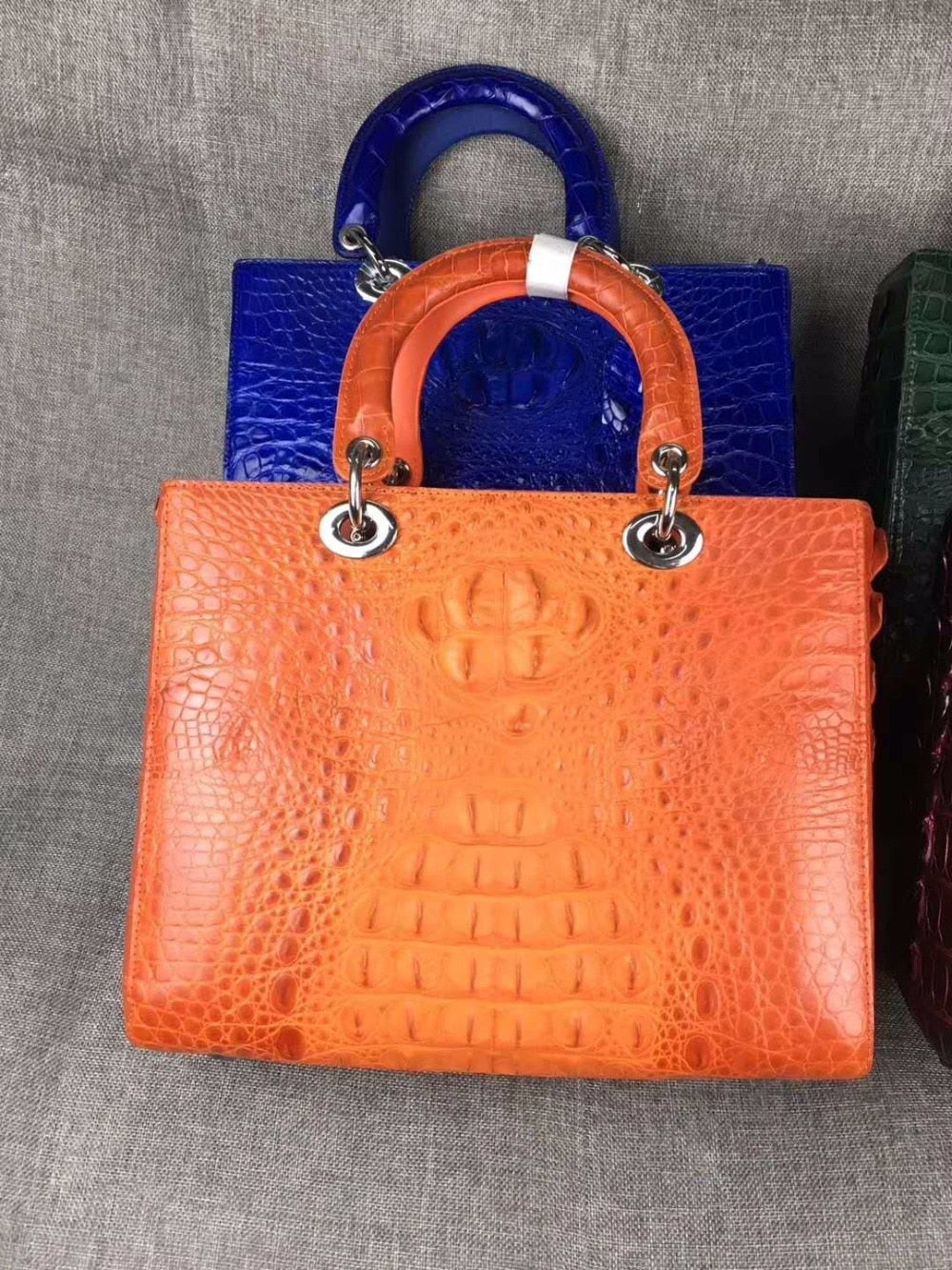 2018 newest high end quality 100% real genuine crocodile skin women tote handbag shouder orange color crocodile head skin flat