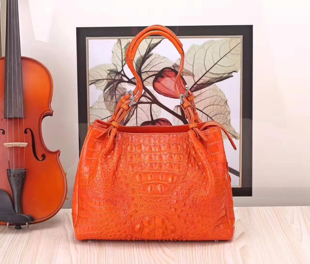 2018 new design fashion high end quality 100% real genuine crocodile skin women tote handbag orange color crocodile head skin