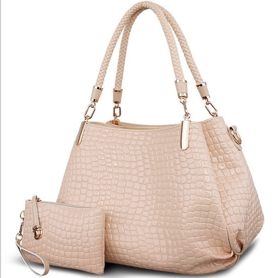Fashion crocodile borse women totes lady handbag+purse/wallet carteras mujer big capacity black white shoulder kit 2 bags/set