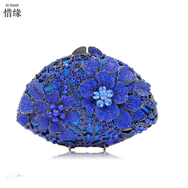 XIYUAN BRAND New Design Ladies blue Evening Bag Women Sequined Beaded Wedding Party Floral High Quality gold Clutches With Chain