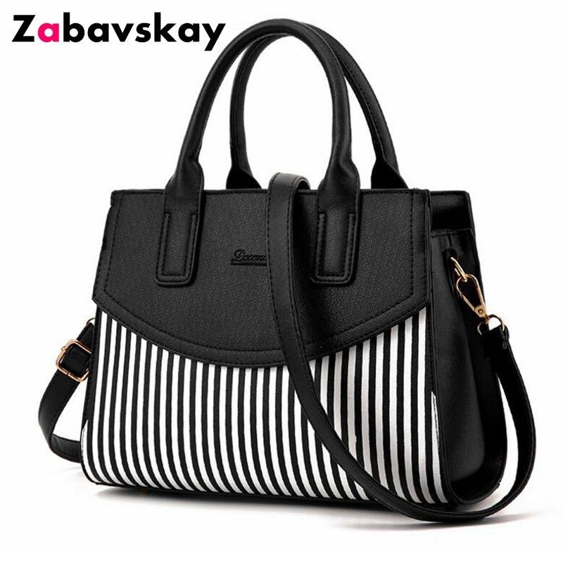 New Brand Design Fashion Women Handbag Black And White Stripe Tote Bag Female Shoulder Bags High Quality PU Leather Purse DJZ305