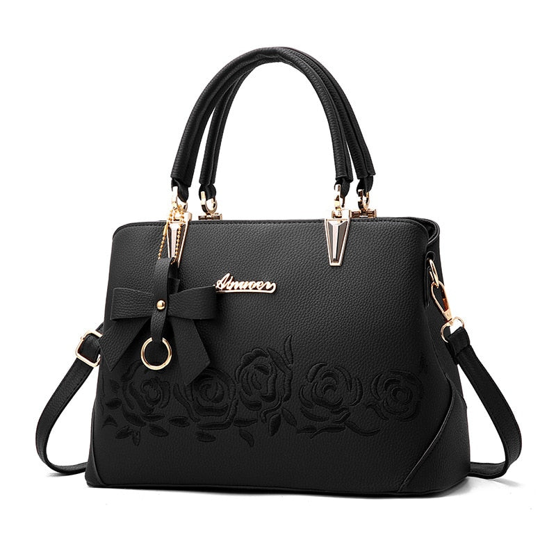 Women Bag Vintage Handbag Casual Tote Fashion Women Messenger Bags Shoulder Top-Handle Purse Wallet Leather 2019 New Black Blue